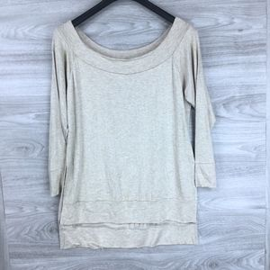 Go Couture Tan Off The Shoulder Mock Neck Top